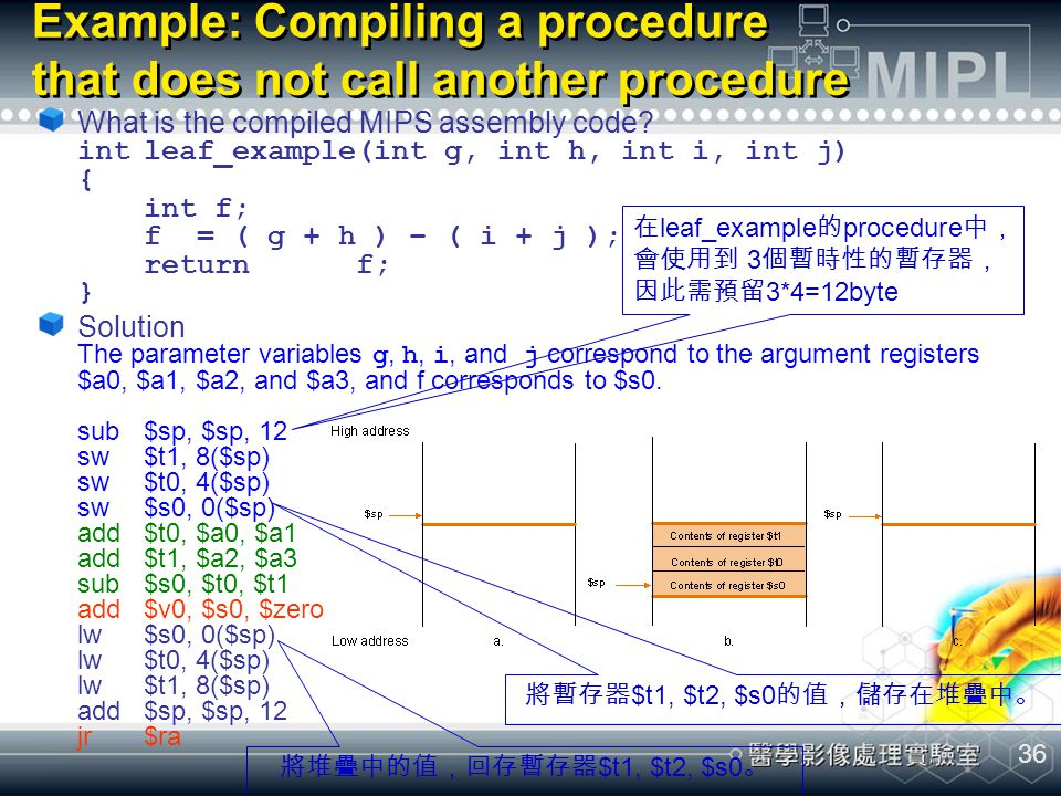 Example: Compiling a procedure that does not call another procedure