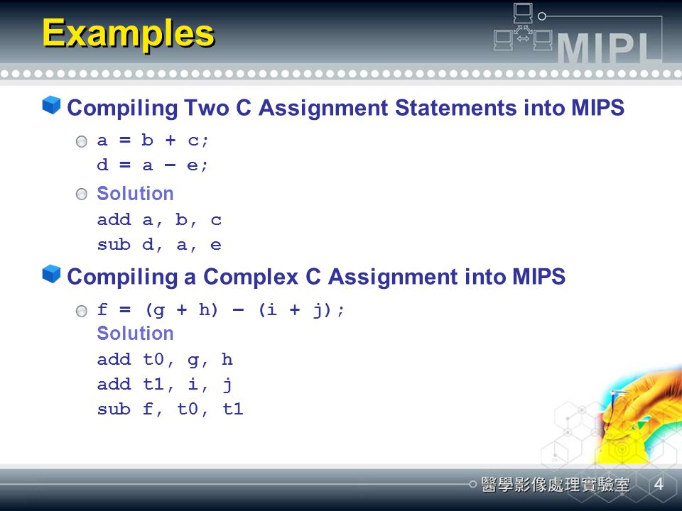 Examples Compiling Two C Assignment Statements into MIPS