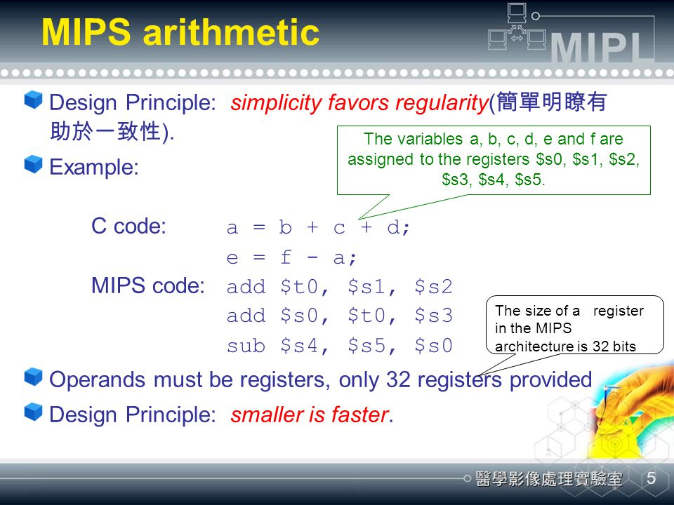 MIPS arithmetic Design Principle: simplicity favors regularity(簡單明瞭有助於一致性).