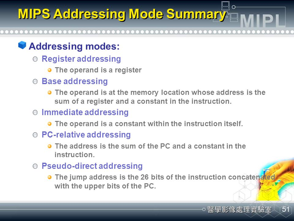 MIPS Addressing Mode Summary