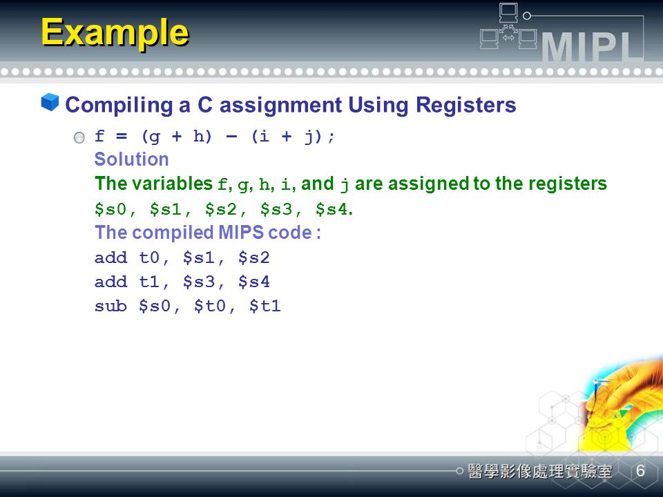 Example Compiling a C assignment Using Registers