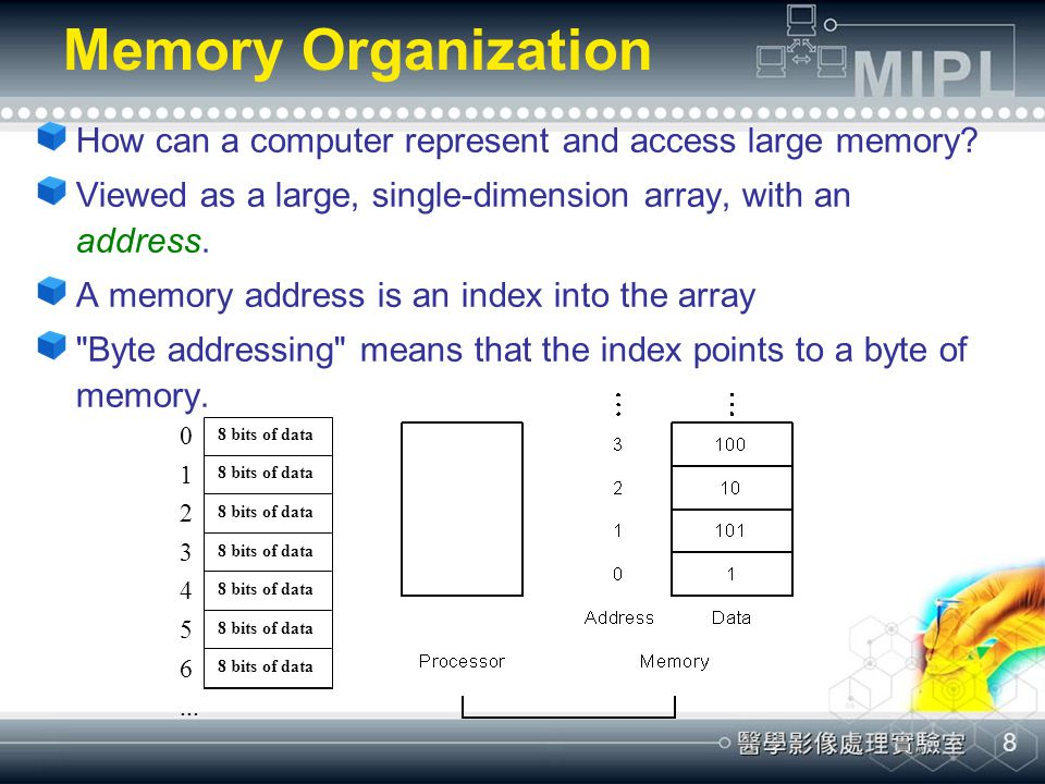 Memory Organization How can a computer represent and access large memory Viewed as a large, single-dimension array, with an address.
