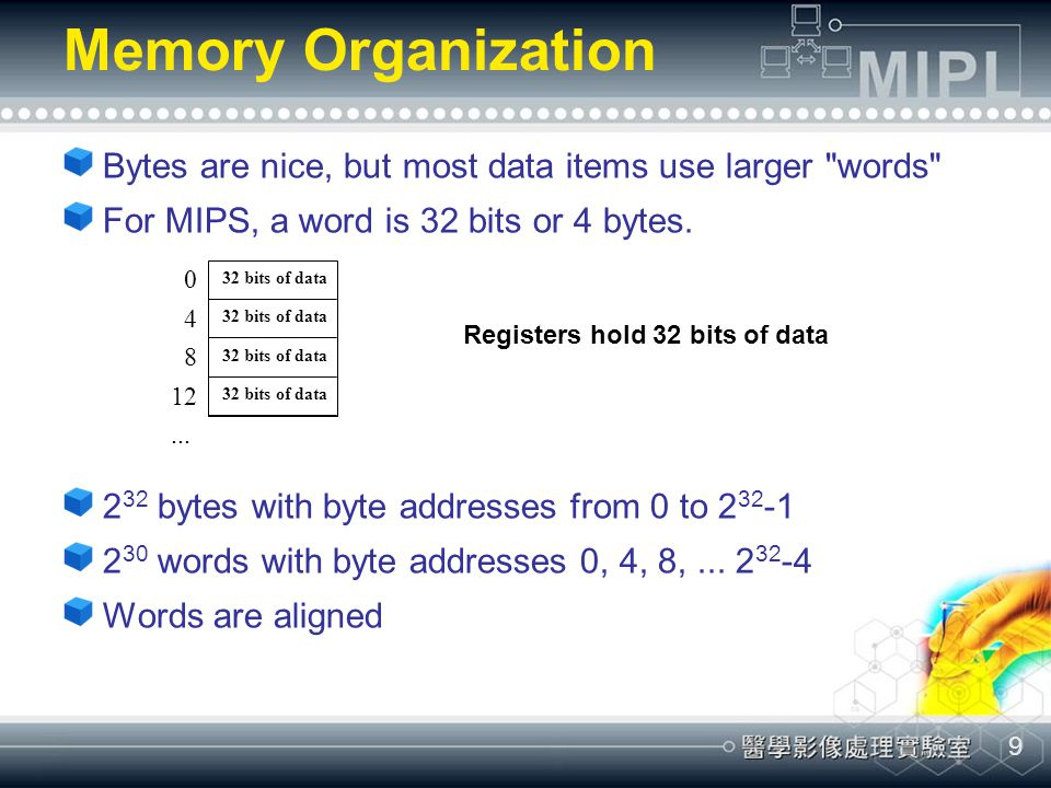Memory Organization Bytes are nice, but most data items use larger words For MIPS, a word is 32 bits or 4 bytes.