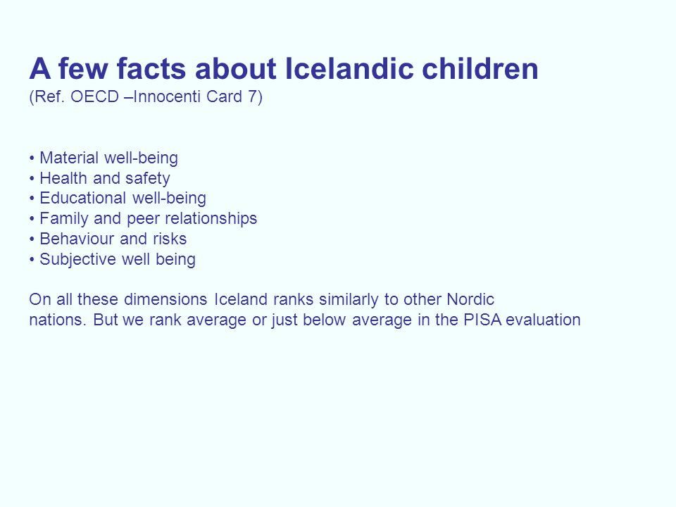 A few facts about Icelandic children