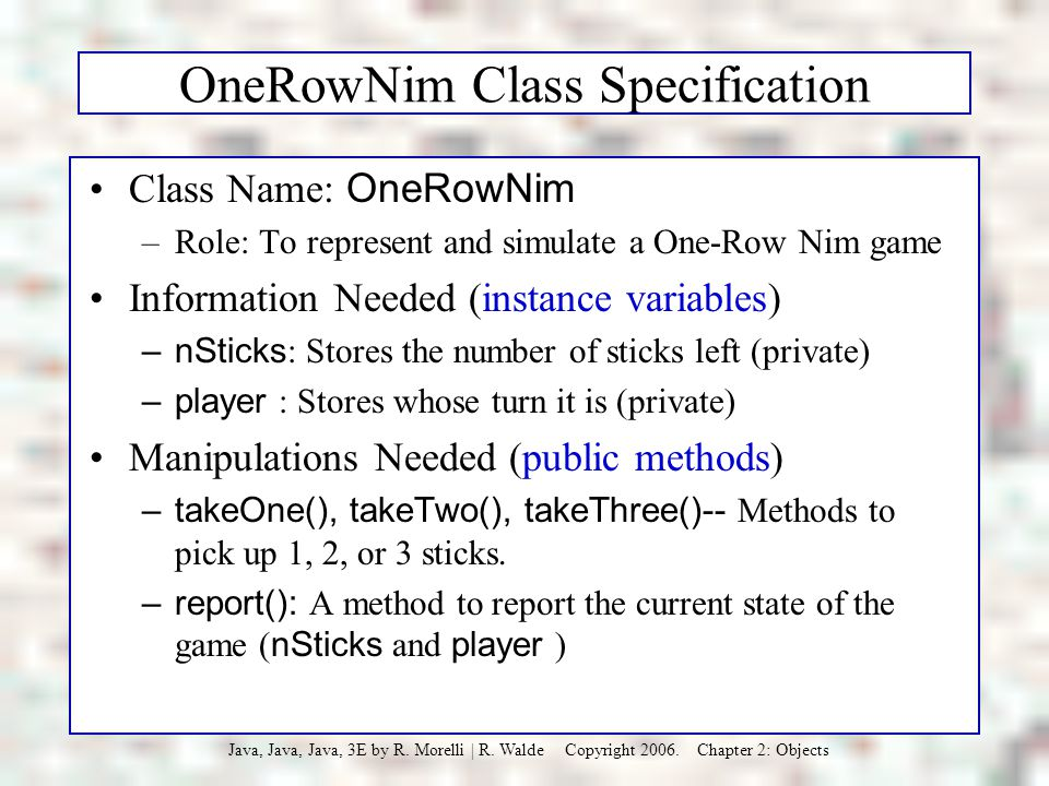OneRowNim Class Specification