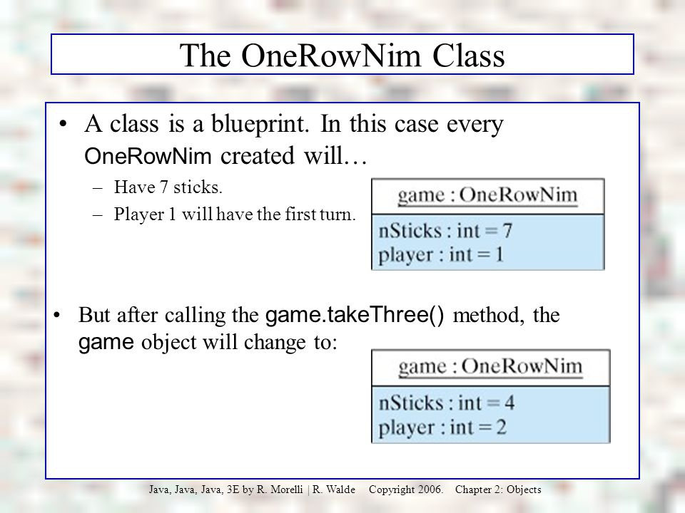 The OneRowNim Class A class is a blueprint. In this case every OneRowNim created will… Have 7 sticks.