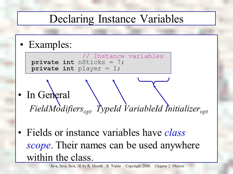 Declaring Instance Variables
