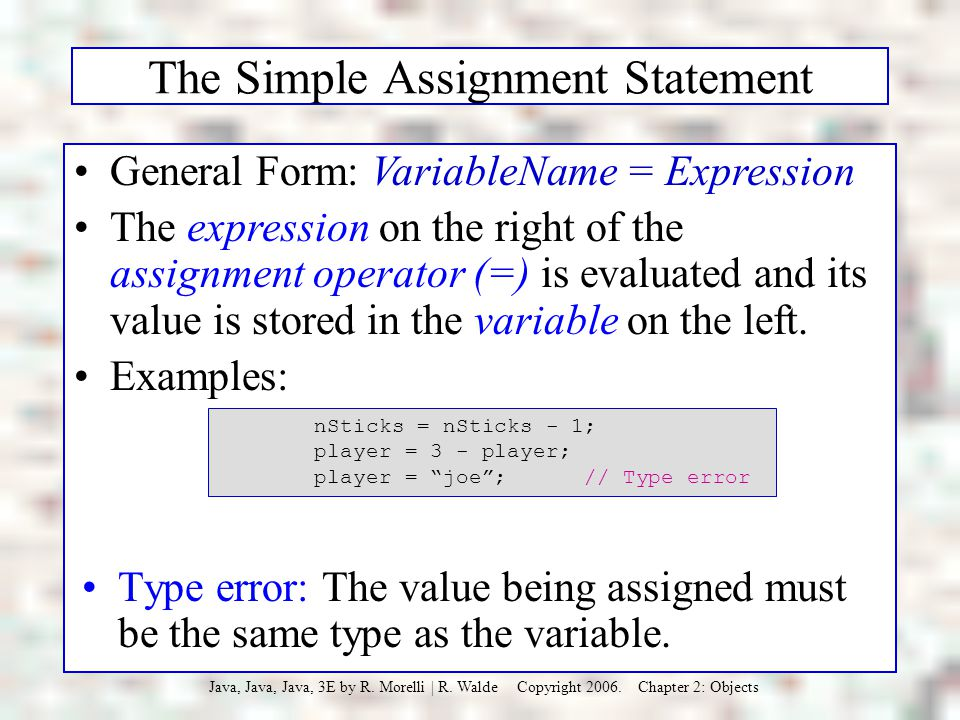 The Simple Assignment Statement