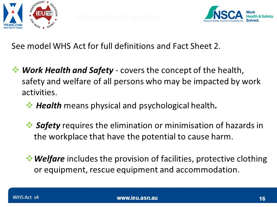Important terms See model WHS Act for full definitions and Fact Sheet 2.