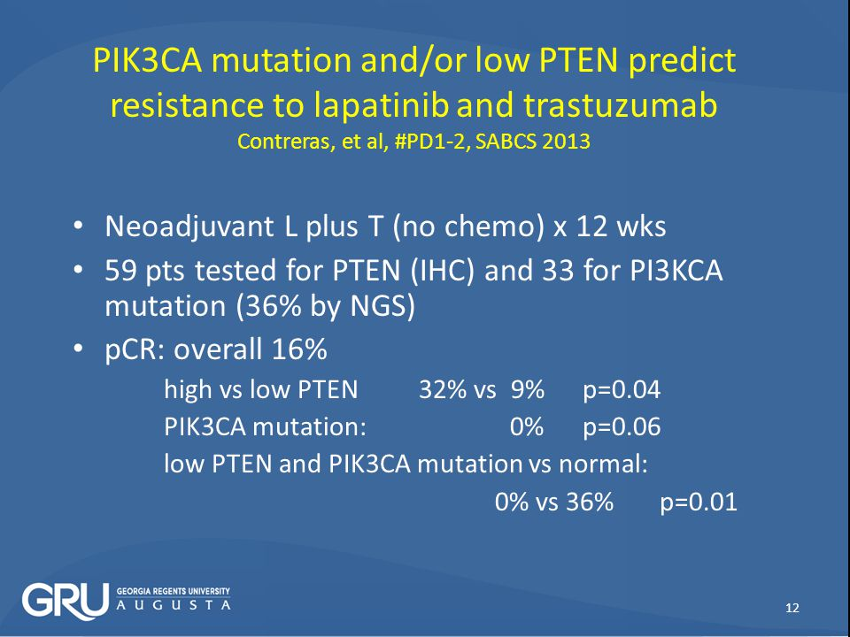 PIK3CA mutation and/or low PTEN predict resistance to lapatinib and trastuzumab Contreras, et al, #PD1-2, SABCS 2013
