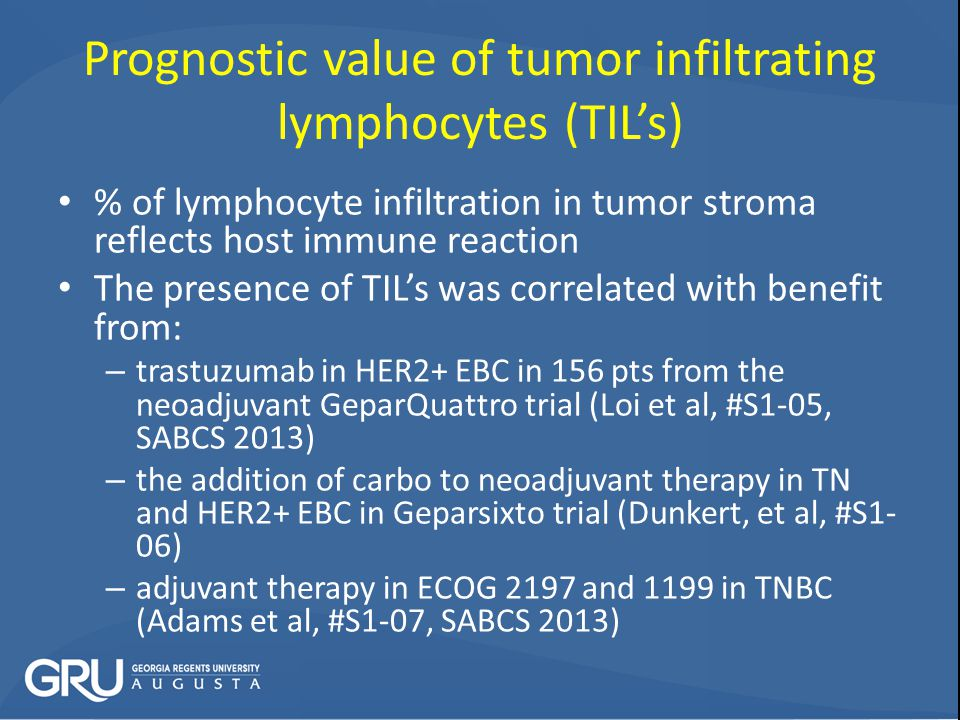 Prognostic value of tumor infiltrating lymphocytes (TIL's)