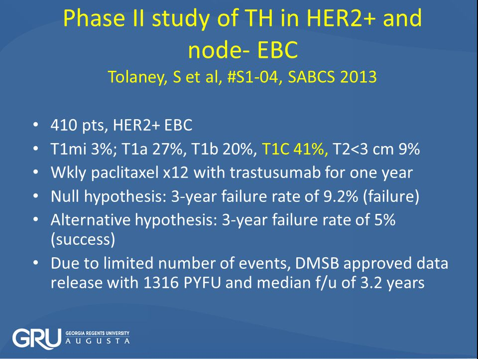 Phase II study of TH in HER2+ and node- EBC Tolaney, S et al, #S1-04, SABCS 2013