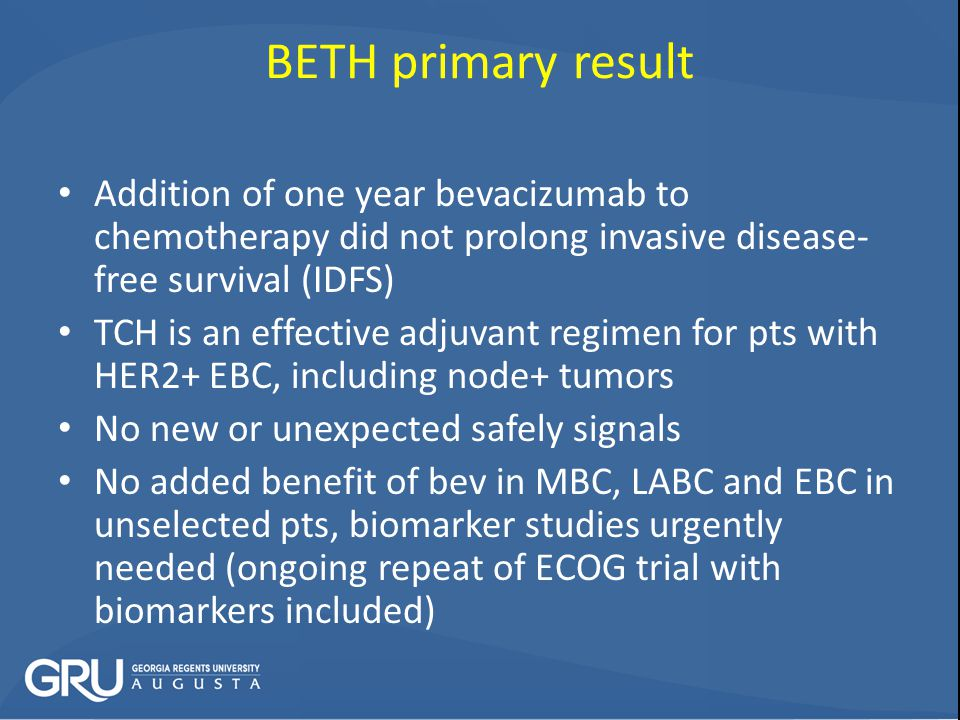 BETH primary result Addition of one year bevacizumab to chemotherapy did not prolong invasive disease-free survival (IDFS)