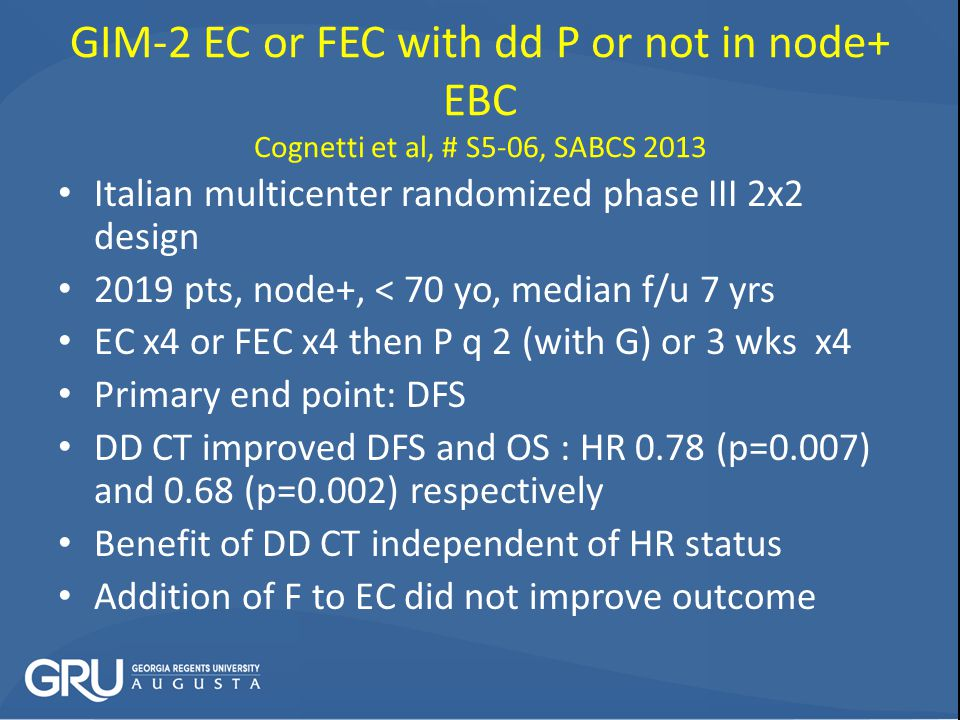 GIM-2 EC or FEC with dd P or not in node+ EBC Cognetti et al, # S5-06, SABCS 2013