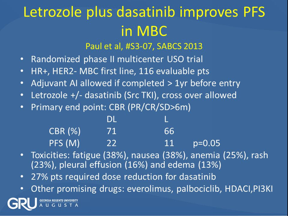Letrozole plus dasatinib improves PFS in MBC Paul et al, #S3-07, SABCS 2013