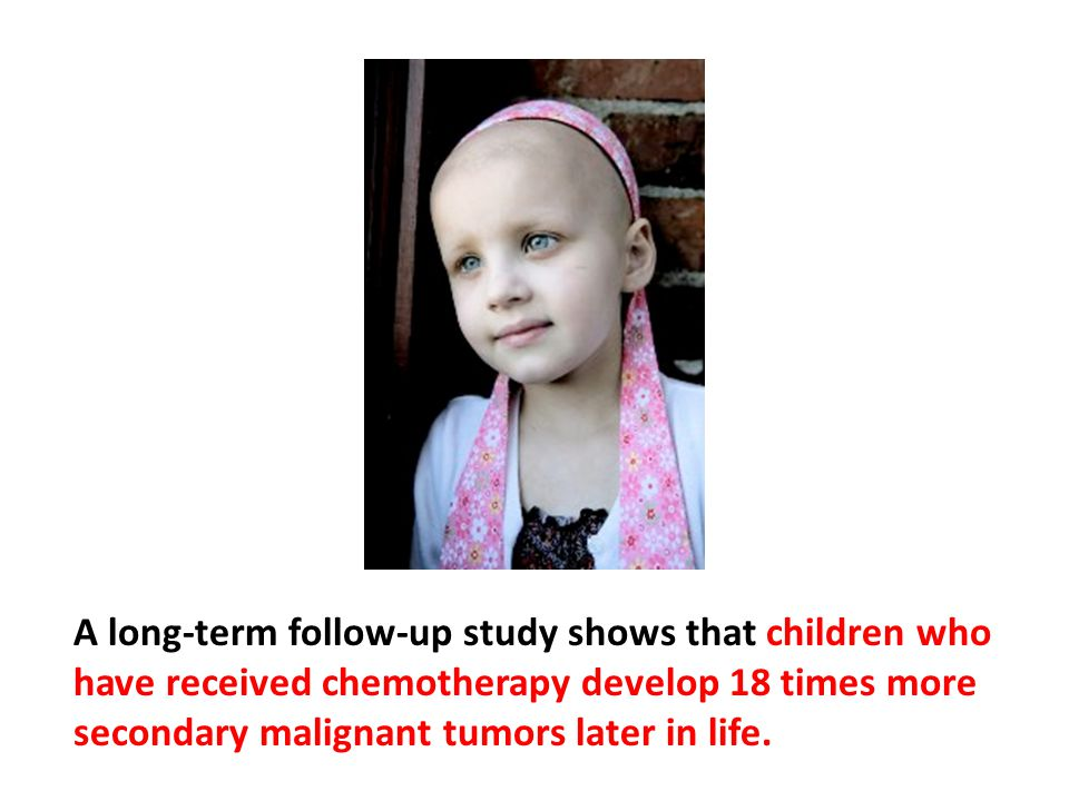 A long-term follow-up study shows that children who have received chemotherapy develop 18 times more secondary malignant tumors later in life.