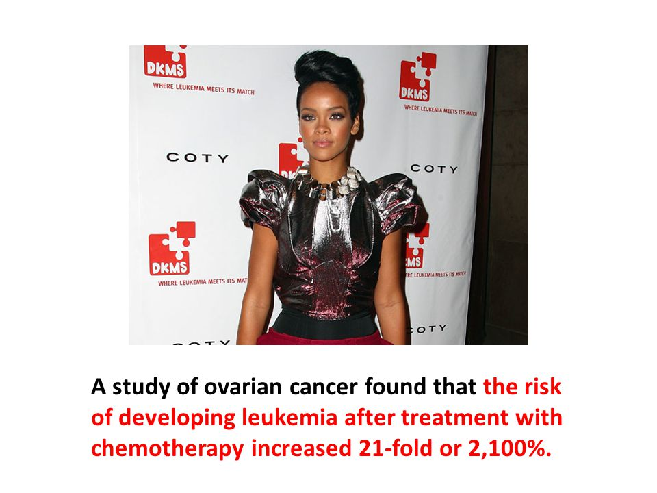 A study of ovarian cancer found that the risk of developing leukemia after treatment with chemotherapy increased 21-fold or 2,100%. The incidence of triggered leukemia doubled between low-dose and moderate-dose groups and then quadrupled between the moderate-dose and the high-dose groups.