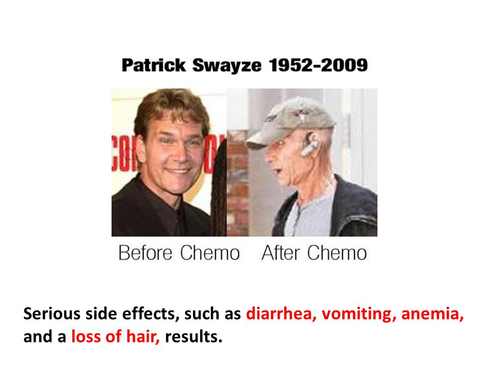 Serious side effects, such as diarrhea, vomiting, anemia, and a loss of hair, results.