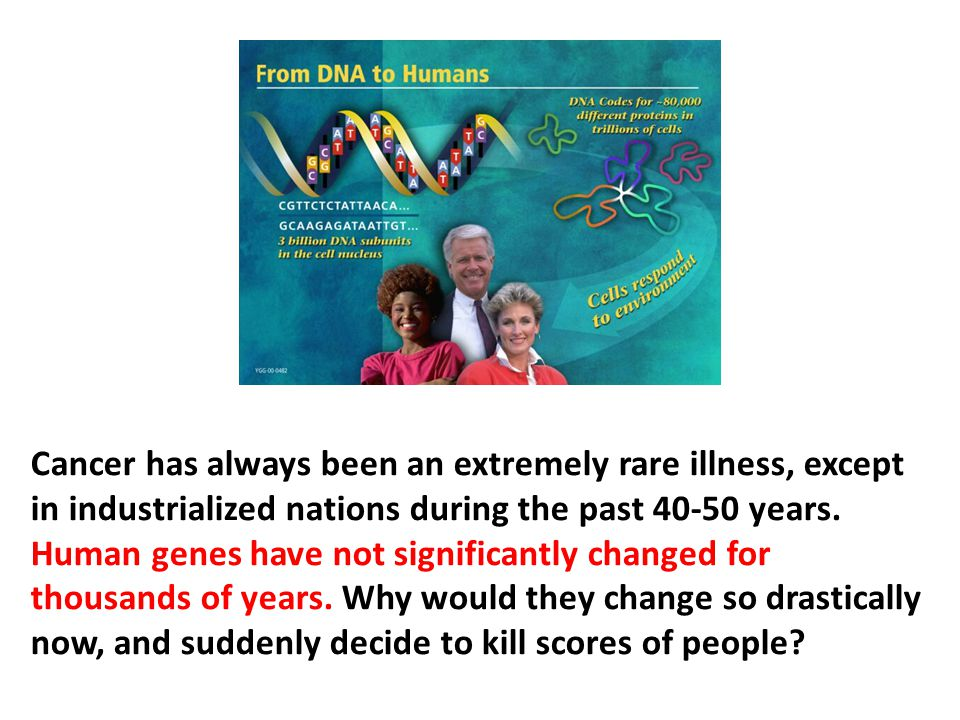 Cancer has always been an extremely rare illness, except in industrialized nations during the past 40-50 years. Human genes have not significantly changed for thousands of years. Why would they change so drastically now, and suddenly decide to kill scores of people
