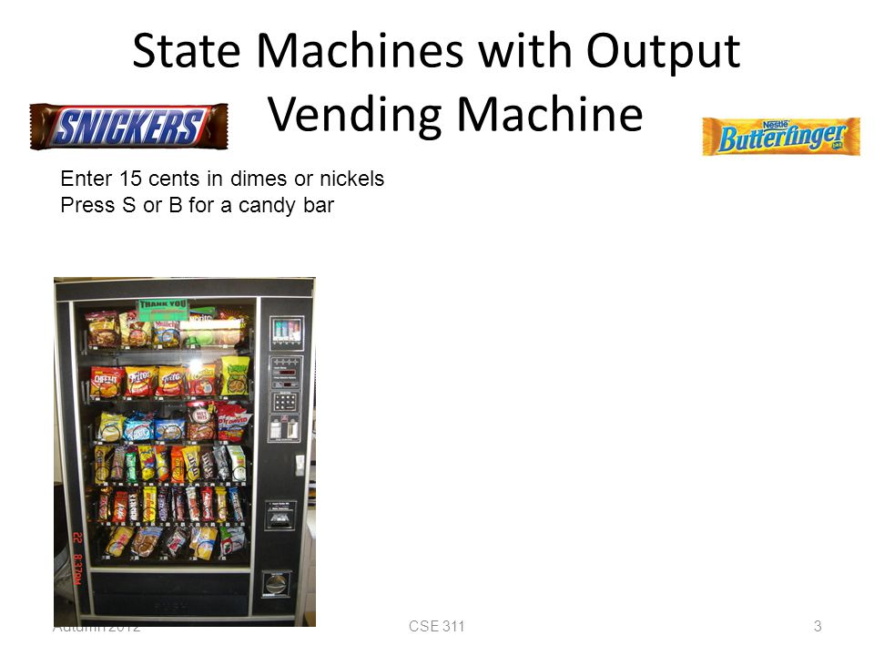 State Machines with Output Vending Machine