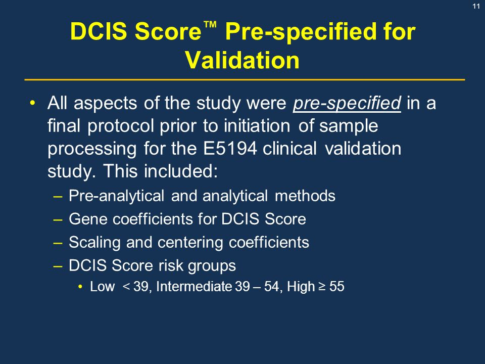 DCIS Score™ Pre-specified for Validation