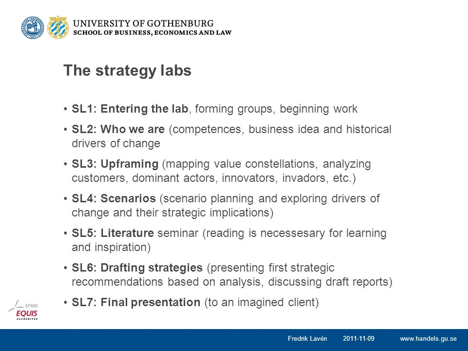 The strategy labs SL1: Entering the lab, forming groups, beginning work.
