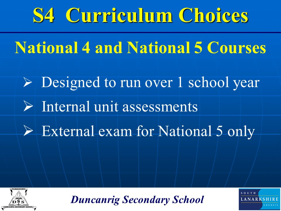 National 4 and National 5 Courses Duncanrig Secondary School