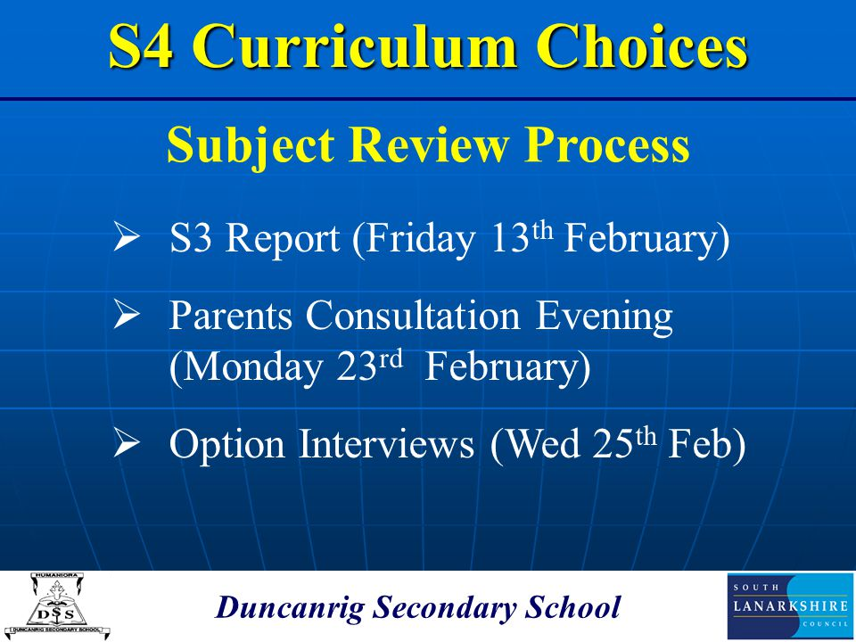 Subject Review Process Duncanrig Secondary School