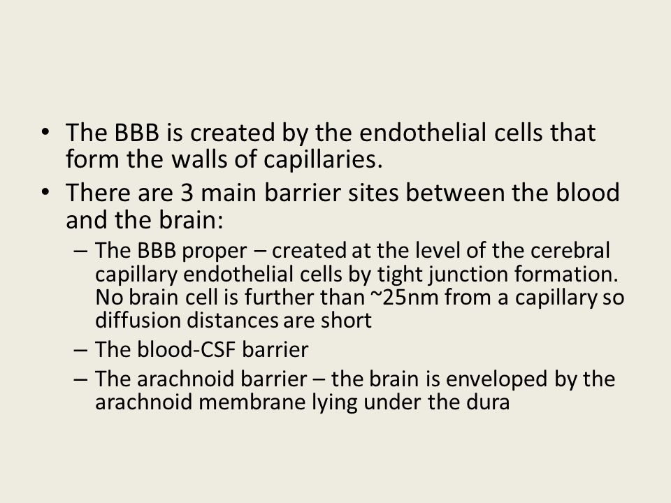 There are 3 main barrier sites between the blood and the brain:
