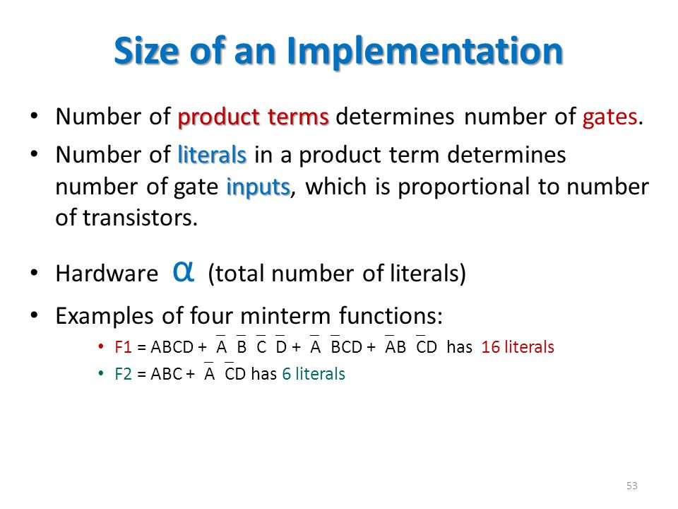 Size of an Implementation