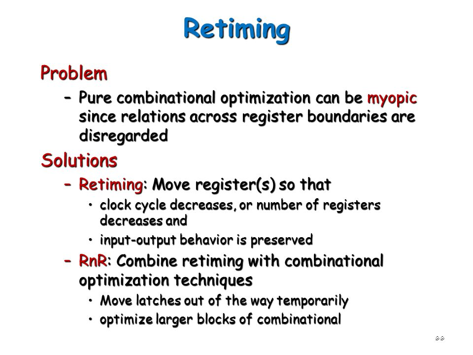 Retiming Problem Solutions