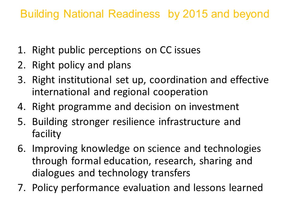 Building National Readiness by 2015 and beyond