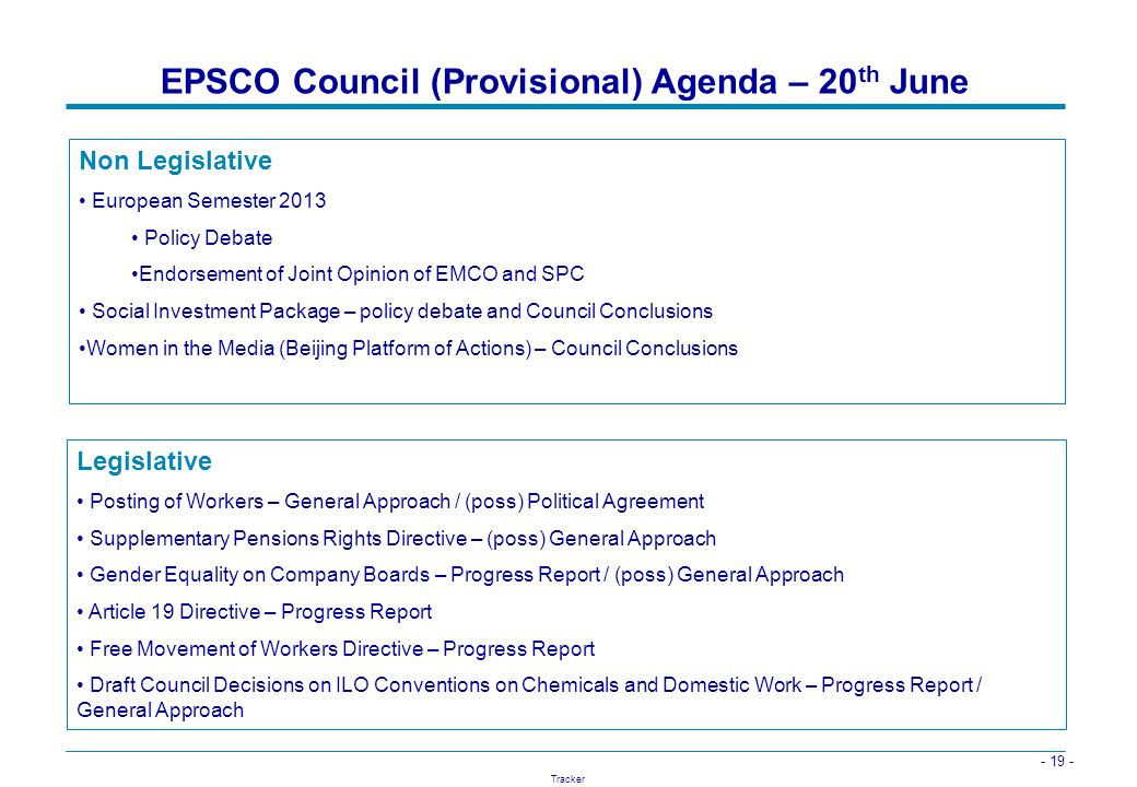 EPSCO Council (Provisional) Agenda – 20th June