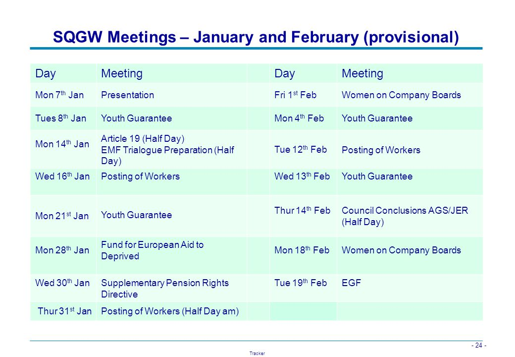 SQGW Meetings – January and February (provisional)