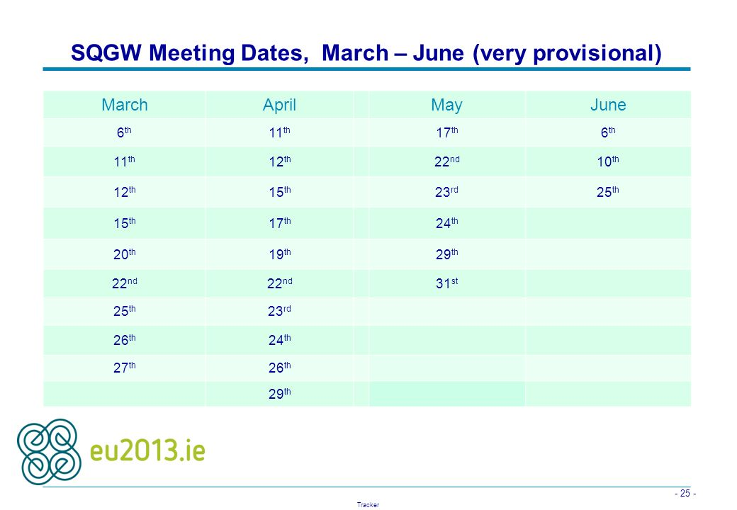 SQGW Meeting Dates, March – June (very provisional)