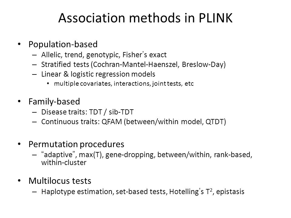 Association methods in PLINK