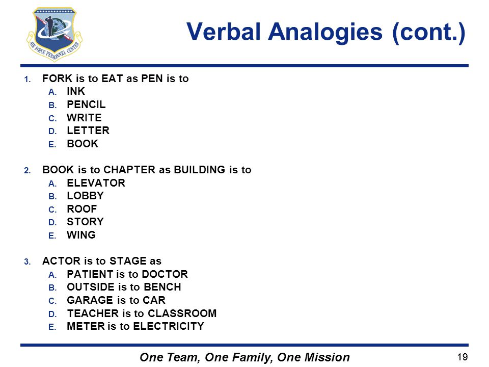 Verbal Analogies (cont.)