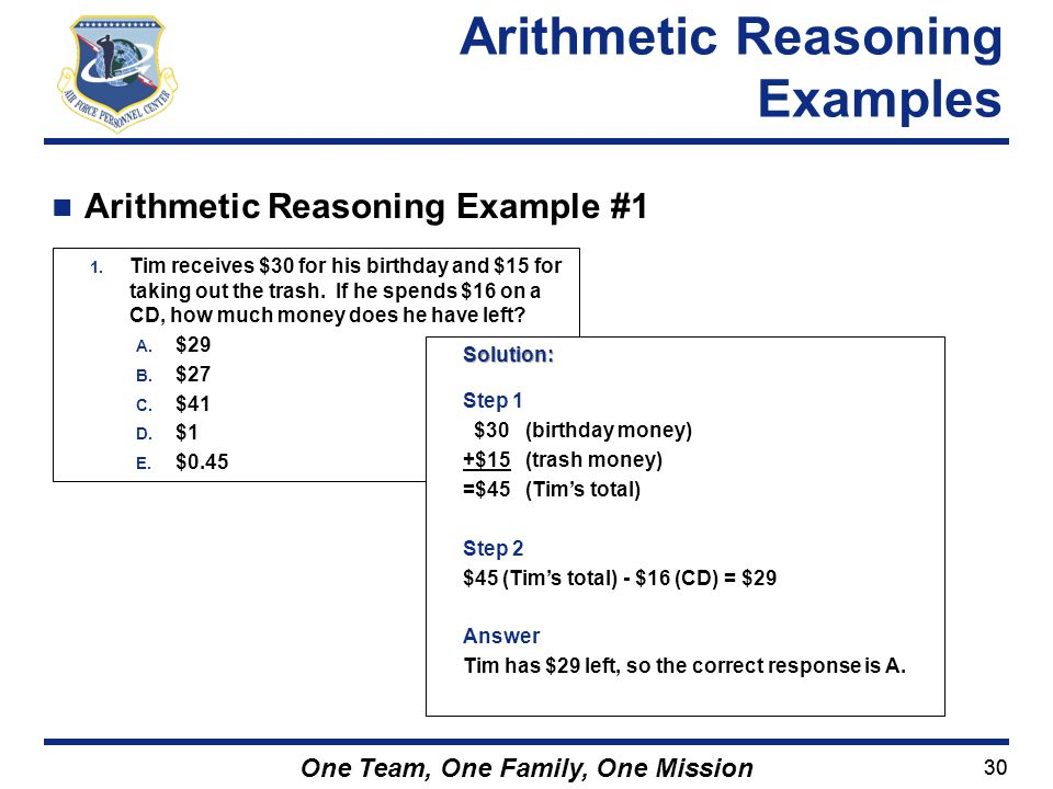 Arithmetic Reasoning Examples
