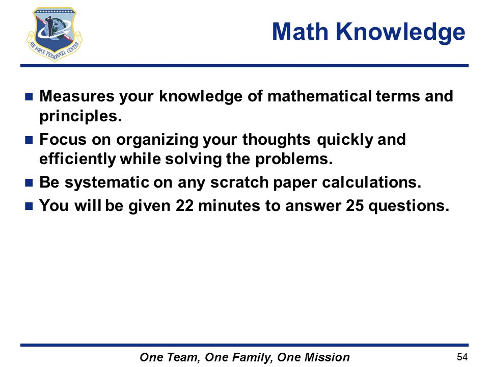 Math Knowledge Measures your knowledge of mathematical terms and principles.