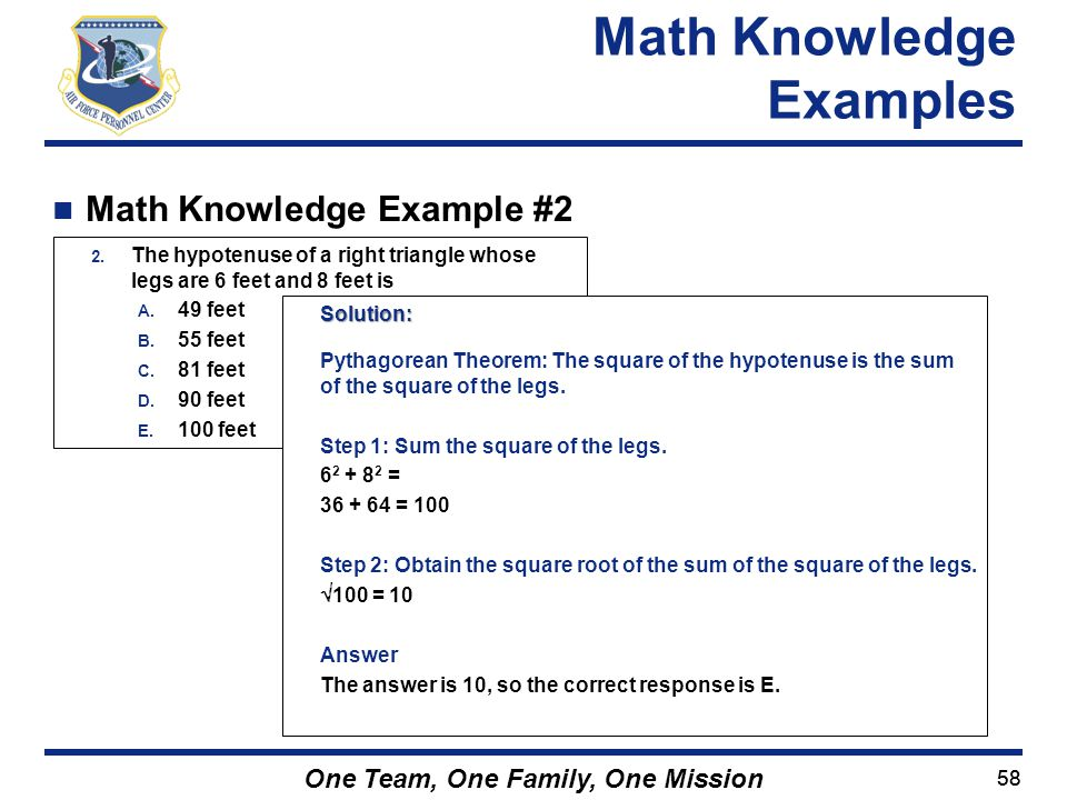Math Knowledge Examples Math Knowledge Example #2