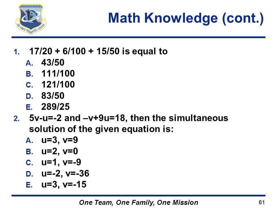 Math Knowledge (cont.) 17/20 + 6/100 + 15/50 is equal to 43/50 111/100