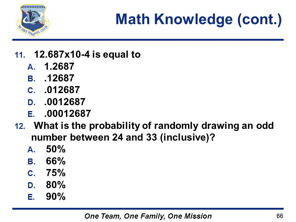 Math Knowledge (cont.) 12.687x10-4 is equal to 1.2687 .12687 .012687