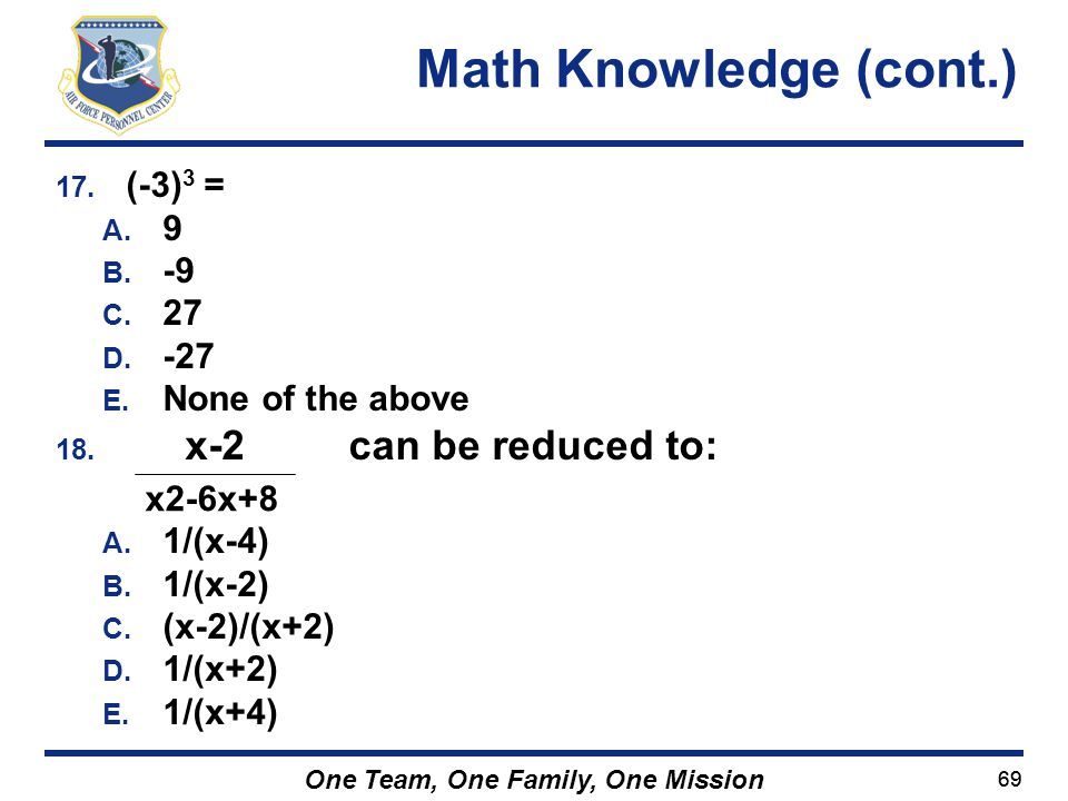 Math Knowledge (cont.) (-3)3 = 9 -9 27 -27 None of the above