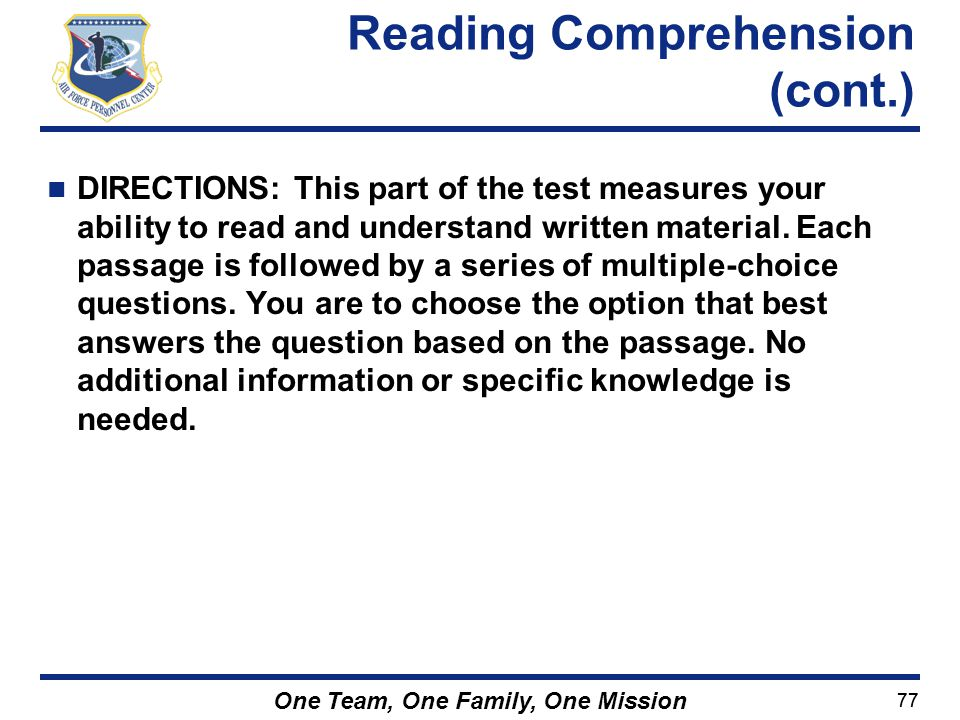Reading Comprehension (cont.)