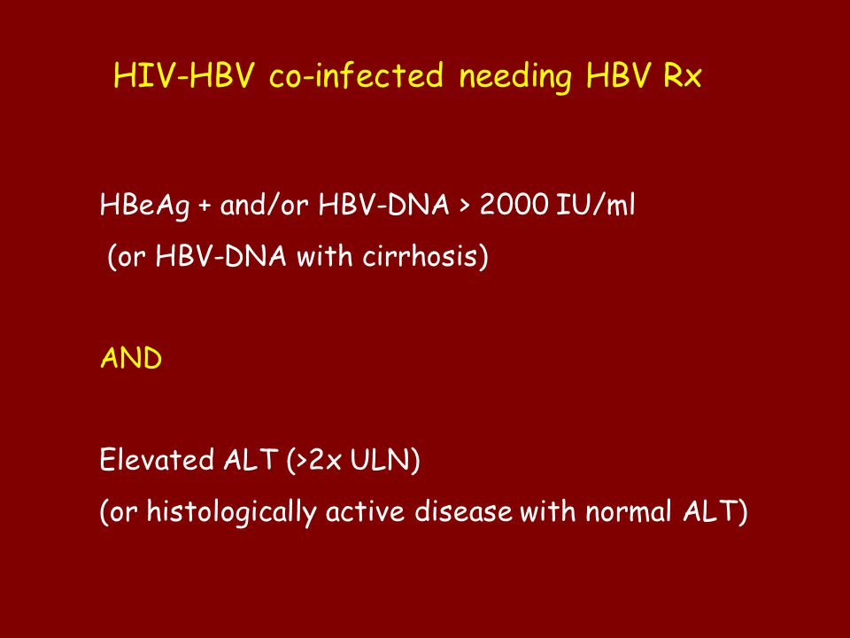 HIV-HBV co-infected needing HBV Rx