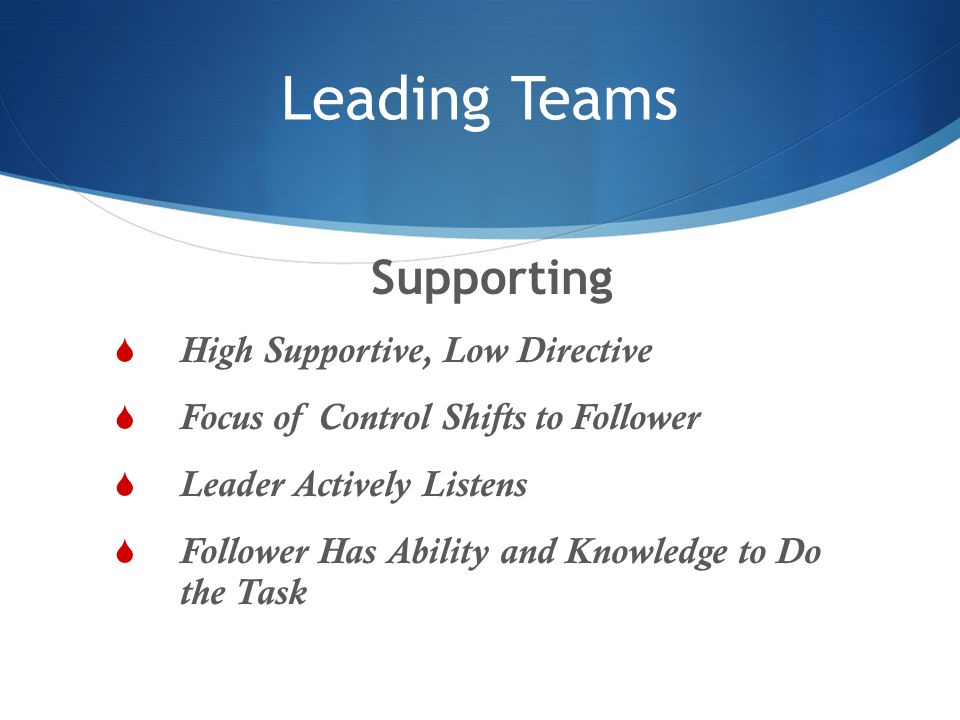 Leading Teams Supporting High Supportive, Low Directive