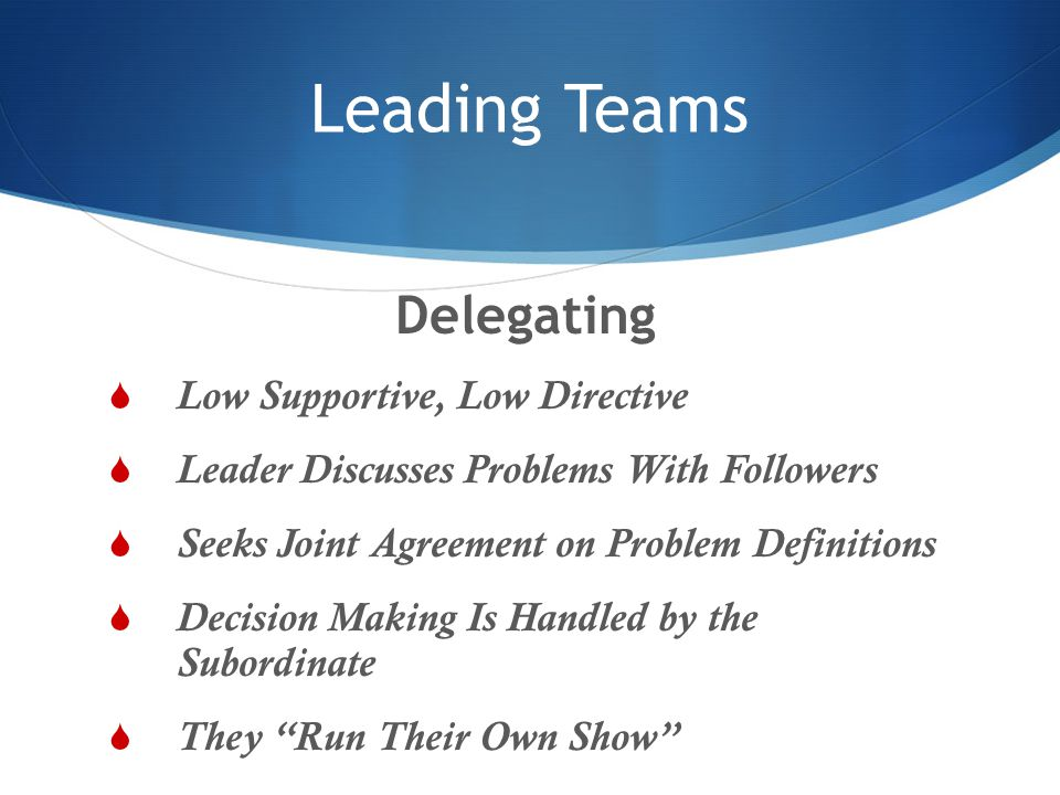Leading Teams Delegating Low Supportive, Low Directive