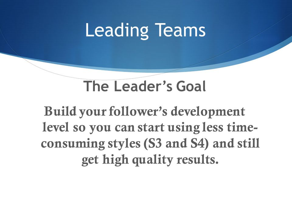 Leading Teams The Leader's Goal