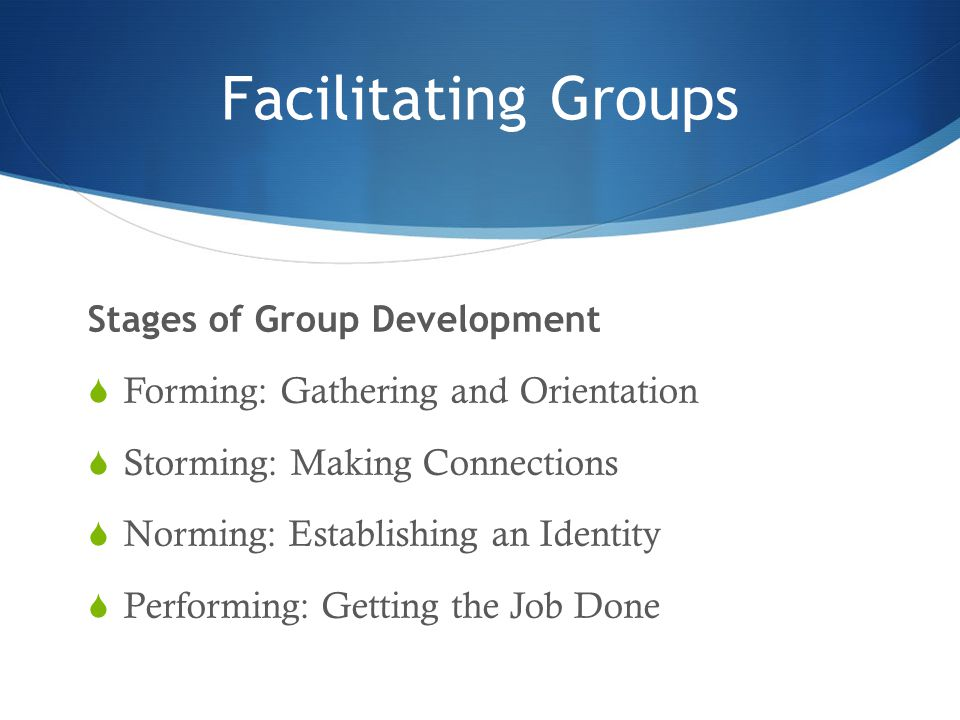 Facilitating Groups Stages of Group Development