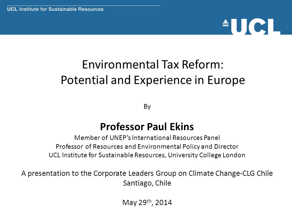 Environmental Tax Reform: Potential and Experience in Europe